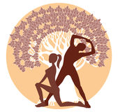 Silhouettes of men and women in athletic poses Stock Photography
