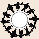 Silhouettes of men and women hold hands together. To put up a dance performance Royalty Free Stock Photo