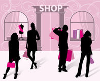 Silhouettes of men and women with shopping in hand vector illustration