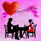 Silhouettes of men and women at the table. Pink background, a man and woman at the desk, on top of satin ribbon and red heart Royalty Free Stock Photo