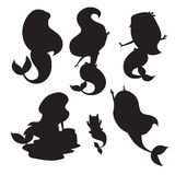 Silhouettes of mermaid girls vector illustration Royalty Free Stock Photo