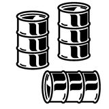 Silhouettes  metal barrels  for oil on white background. Vector Royalty Free Stock Image