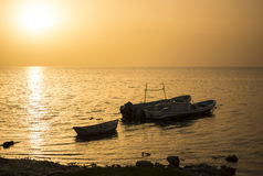 Silhouettes Mexican fishing boats at sunset Royalty Free Stock Photos