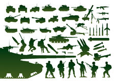 Silhouettes militaires vertes Images stock