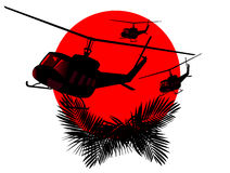 Silhouettes of military helicopters Stock Image