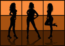 Silhouettes of models Stock Images