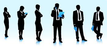 Silhouettes of moderm business people Stock Photo