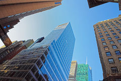 Silhouettes of modern skyscrapers in Lower Manhattan Stock Images