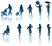 Silhouettes modernes de femme Photos libres de droits