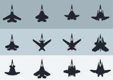 Silhouettes modernes et futuristes de Jet Ffighters illustration libre de droits