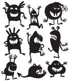Silhouettes monsters. Silhouettes of cute doodle monsters Royalty Free Stock Images
