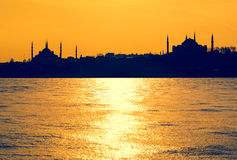 Silhouettes of mosques Stock Photo