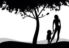 Silhouettes of mother and daughter looking to the horizon under a tree stock illustration