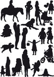 Silhouettes of mother and daughter. Silhouettes of several mothers and daughters from pregnancy to older Stock Photo