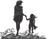 Silhouettes of mother and her daughter vector illustration