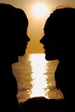 Silhouettes of mother and son Royalty Free Stock Photography