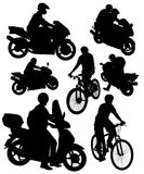Silhouettes of motorcycles and bikes Stock Images