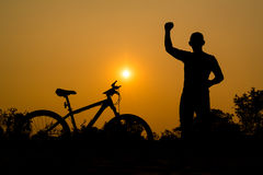 Silhouettes of mountain bike with man Stock Image