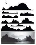 Silhouettes of mountain for design Royalty Free Stock Photography