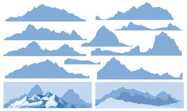 Silhouettes of mountains. Stock Images