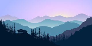 Silhouettes of mountains, chalet and forest at sunrise. Vector illustration. Mountains, hills, trees, house, mist, sun beam with sunrise or sunset sky. For royalty free illustration