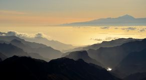 Silhouettes of mountains and Tenerife island in background, Canary islands Stock Photo
