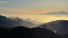 Silhouettes of mountains and Tenerife island in background, Canary islands Royalty Free Stock Photos