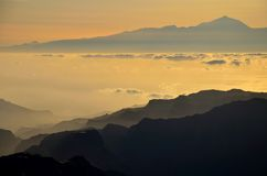 Silhouettes of mountains and Tenerife island in background, Canary islands Stock Photography