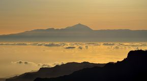 Silhouettes of mountains and Tenerife island in background, Canary islands Royalty Free Stock Photography