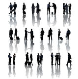 Silhouettes Of Multiethnic Business People Activities Stock Photo