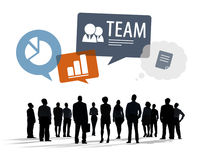 Silhouettes of Multiethnic Business People with Business Symbols Stock Image