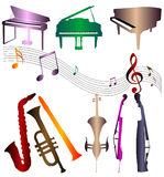 Silhouettes musical instrument. And three piano in color Stock Image