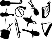 Silhouettes musical instrument vector Stock Images