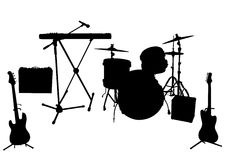 Silhouettes of musical instruments. Isolated on white background. Vector illustration royalty free illustration