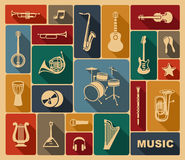 Silhouettes of musical instruments Stock Images