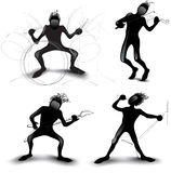 Silhouettes musicians. Silhouettes rock-band musicians. Black and white royalty free illustration