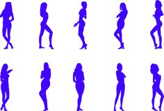 Silhouettes of the naked women. Collection of a vector of silhouettes of the naked women Royalty Free Stock Photos