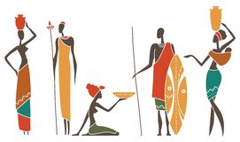 Silhouettes of native African men and women. Silhouettes of African men and women intraditional clothing stock illustration