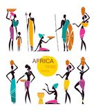 Silhouettes of native African people. Silhouettes of African men and women with children in traditional clothing royalty free illustration