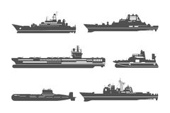 Silhouettes of naval ships Stock Image