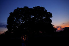 Silhouettes at night outdoors Stock Photos