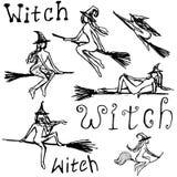 Silhouettes noires avec des sorcières placez des attributs illustration de vecteur