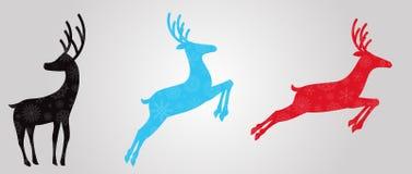 Silhouettes noires, bleues et rouges des rennes illustration stock
