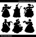 Silhouettes noires d'actrice de théâtre Femmes de vintage réglées colombin illustration stock