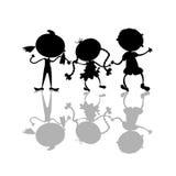 Silhouettes noires d'enfants Images libres de droits