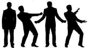 Silhouettes noires d'homme d'affaires se tenant dans la posture différente Photo libre de droits