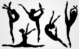 Silhouettes noires d'une ballerine Photographie stock libre de droits