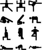 Silhouettes noires de positions de yoga et de forme physique humaines Images libres de droits