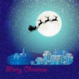 Silhouettes noires de Santa Claus et de cerfs communs, neige, grande lune Images libres de droits