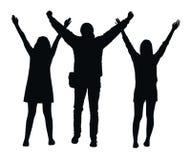 Silhouettes noires de vecteur de trois personnes avec les mains augmentées dans le geste victorieux gai sur le fond blanc illustration de vecteur